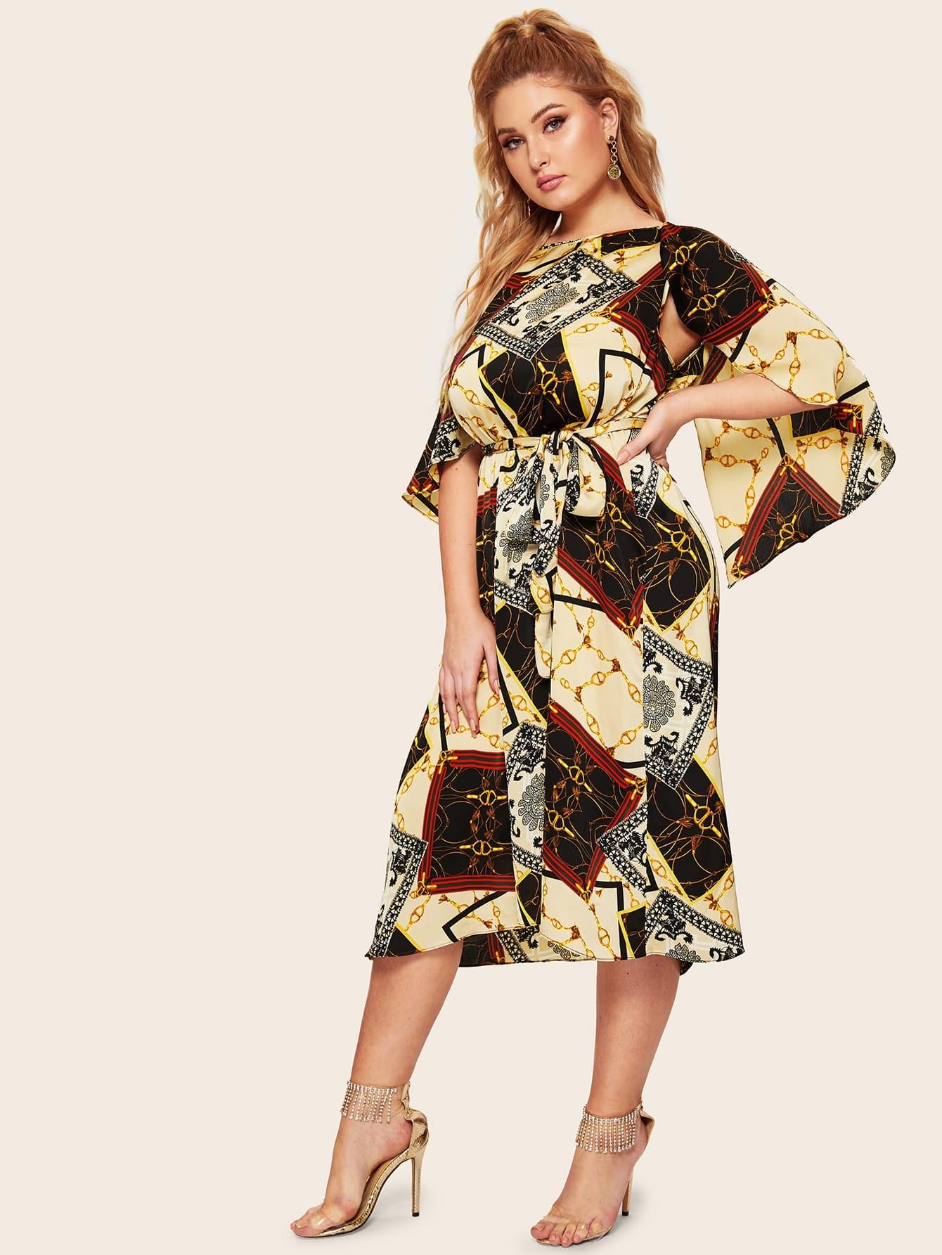 Размер плюс платье с поясом и графическим принтом и оригинальным рукавом