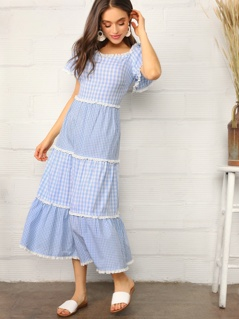 Lace Trim Tiered Mixed Gingham Dress