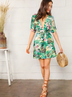 Plunge Neck Open Back Chain & Tropical Print Dress