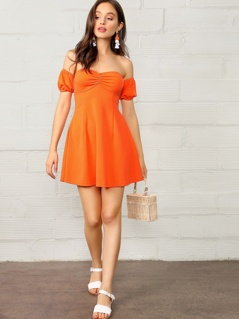 Puff Sleeve Ruched Sweetheart Off Shoulder Dress