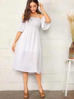 Cold Shoulder Shirred Bodice Frill Trim Dress