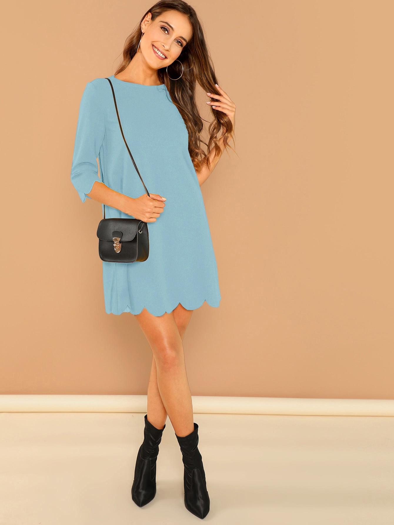 Фото - Платье с фигурной отделкой по краю от SheIn цвет синие