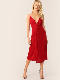 Twist Plunge Neck Wrap Cami Dress