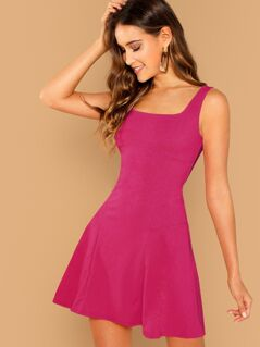 Solid Zip Back Fit & Flare Dress