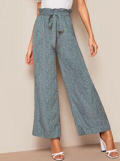 Paperbag Waist Ditsy Floral Wide Leg Pants