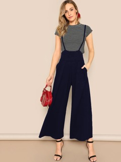 High Waist Wide Leg Pants With Strap