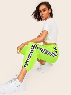 Neon Lime Checker Panel Drawstring Waist Pants