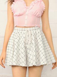 Drawstring Waist Wide Leg Grid Shorts