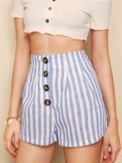 Buttoned Fly Striped Shorts
