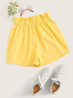 Frilled Elastic Waist Paperbag Shorts
