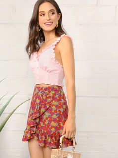 Ruffle Detail Ditsy Floral Wrap Skirt