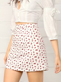 Ditsy Floral Print Wide Band Waist Skirt