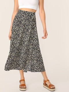 Ditsy Floral Print Button Front Skirt