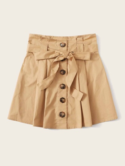 SheIn / Fold Pleat Detail Button Up Belted Skirt