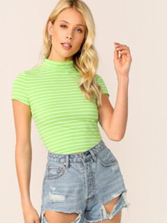 Neon Lime Mock Neck Striped Tee