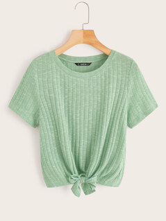Knot Front Rib-knit Top