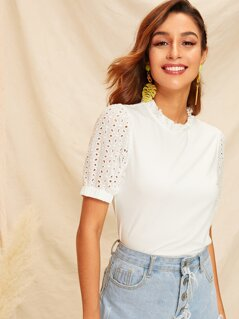 Frilled Neck Schiffy Puff Sleeve Top