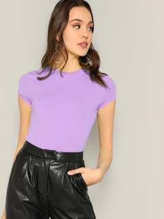 Cap Sleeve Solid Fitted Tee