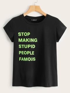 Neon Slogan Print Short Sleeve Tee