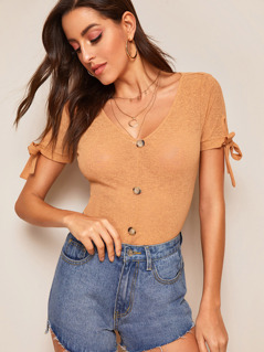 Button Front Rib-knit Tied Cuff Top