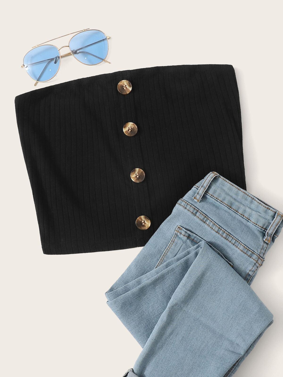 單排扣 羅紋針織 抹胸 上衣