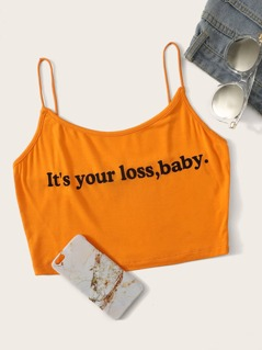 Slogan Print Crop Cami Top