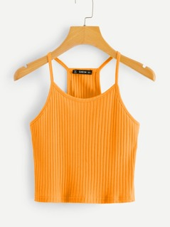 Neon Orange Rib-knit Racerback Cami Top