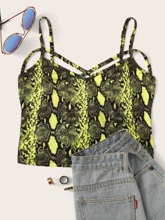 Neon Snakeskin Criss-cross Back Cami Top