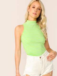Neon Lime Slim Fitted Striped Tank Top