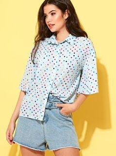 Multi Coloured Polka Dot Short Sleeved Shirt