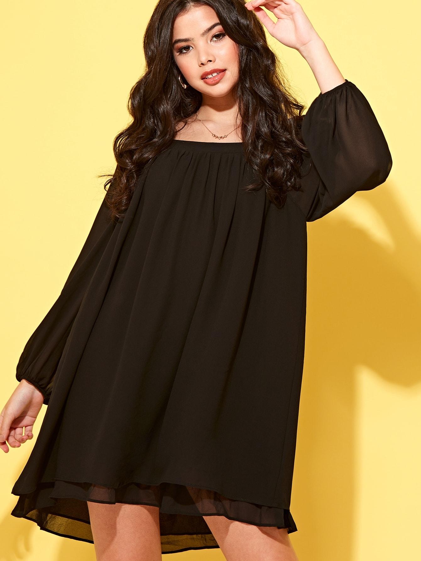 Фото - Шифоновое многослойное платье с квадратным вырезом от SheIn цвет чёрные