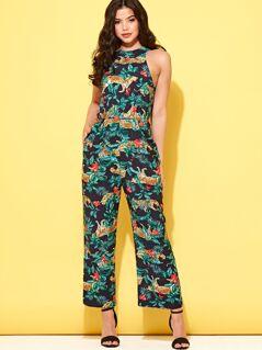 Tropical and Leopard Print Wide Leg Halter Jumpsuit