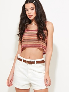 Cropped Crochet Cami Top