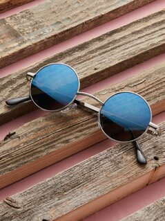 Metal Frame Color Lens Circle Sunglasses