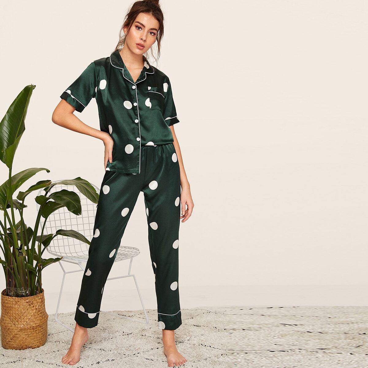 Groen Casual Stippen Lounge kleding Knoop