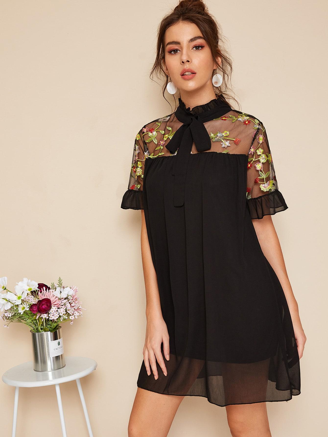 Embroidery Mesh Panel Tie Neck Dress