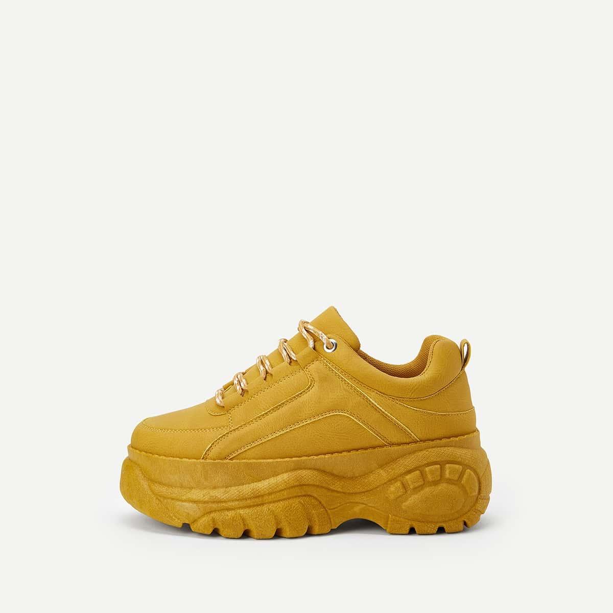 Geel Comfortabel Vlak sneakers Kant