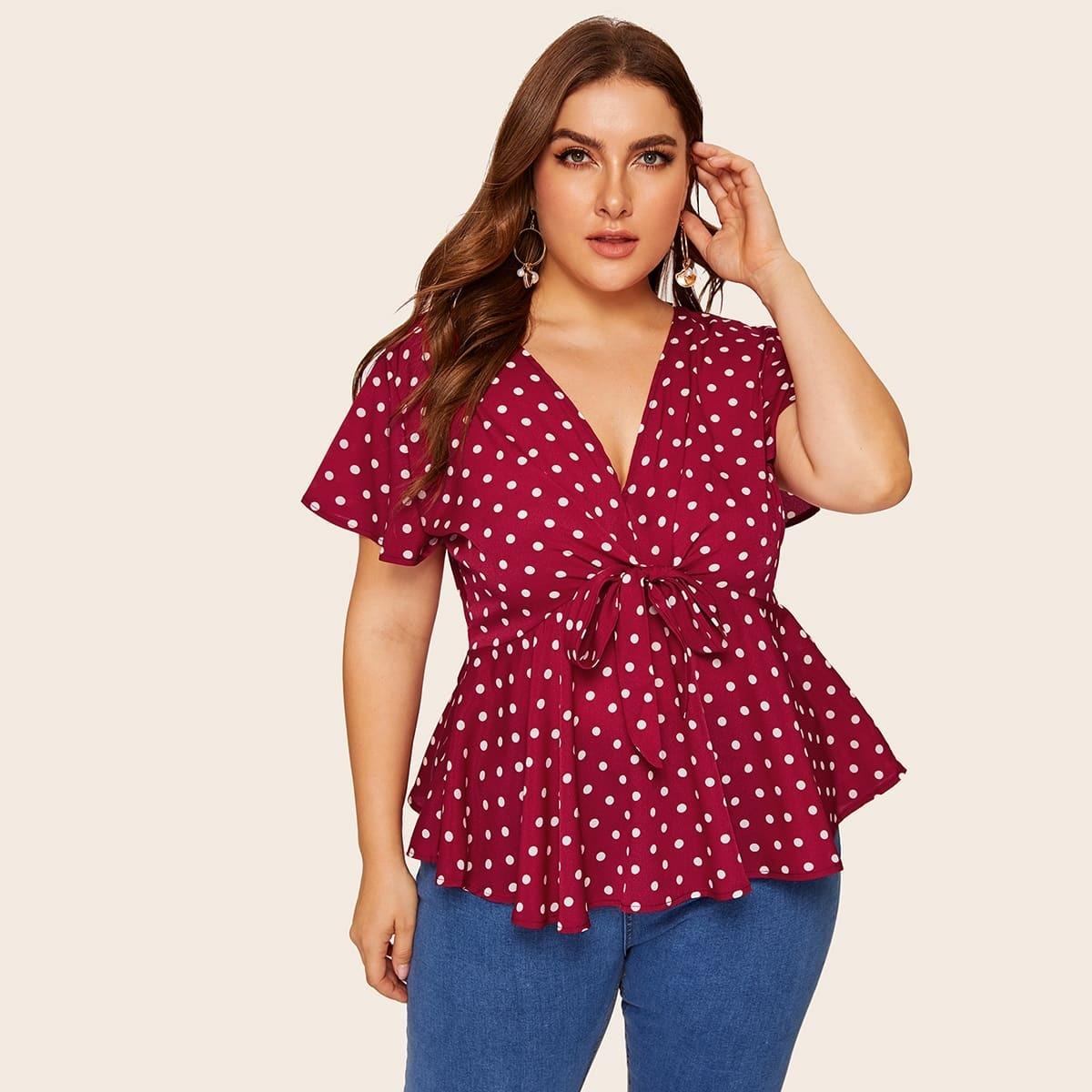 SHEIN / Bluse mit Knoten vorn und Punkten Muster
