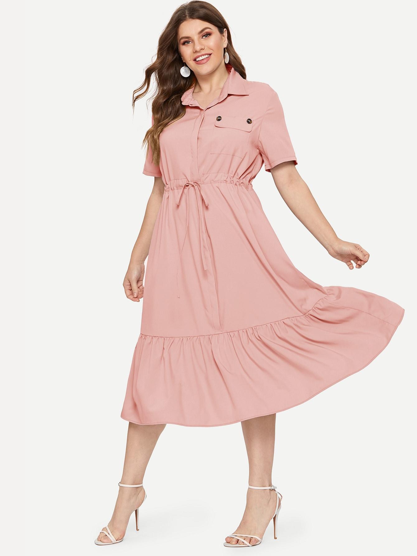 Размер плюс платье на кулиске с оборками
