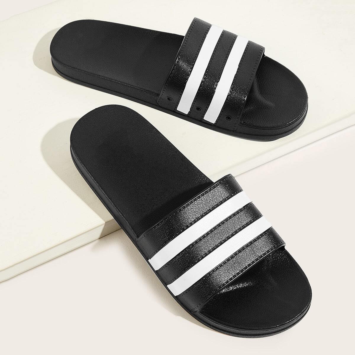 Zwart & wit Comfort Gestreept Sandalen mannen