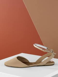 Gold Detail Ankle Strap Pointed Slingback Flats