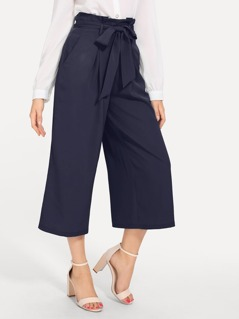 Paperbag Waist Slant Pocket Wide Leg Pants
