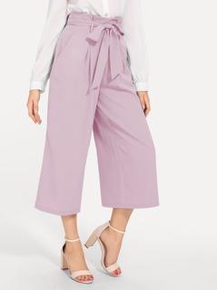 Paperbag Waist Slant Pocket Wide Leg Pants