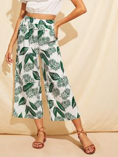 Jungle Leaf Print Wide Leg Crop Pants