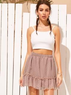 Ruffle Hem Swiss Dot Mesh Skater Skirt