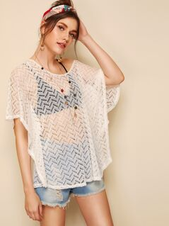Batwing Sleeve Chevron Lace Cover Up