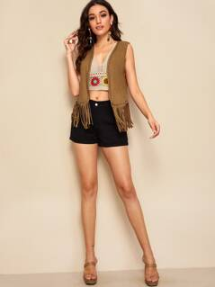 Beaded Trim Fringe Hem Suede Vest