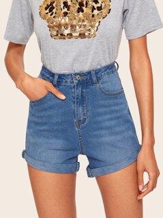 Contrast Stitch Bleach Wash Denim Shorts