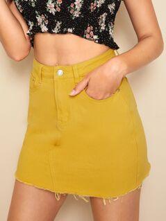 Raw Hem Solid Denim Skirt