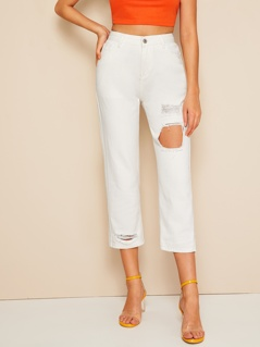 Ripped Detail Tapered Jeans